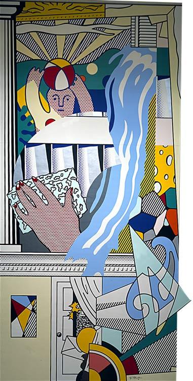 Mural With Blue Brushstoke Roy Lichtenstein
